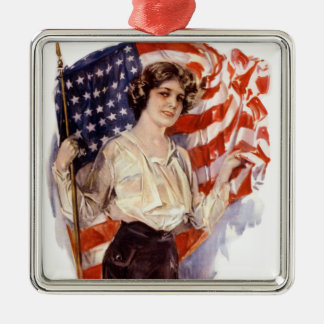 vintage american flag girl metal ornament