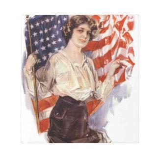vintage american flag girl notepad