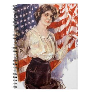 vintage american flag girl spiral notebook
