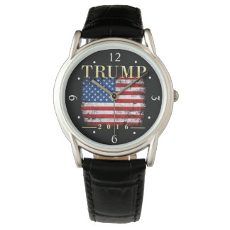 Vintage American Flag Gold Type Donald Trump 2016 Wristwatch