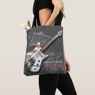 Vintage American Flag Guitar Illustration Tote Bag