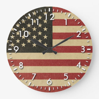 Vintage American Flag Large Clock