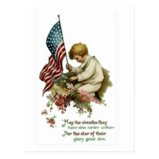 Vintage American Flag Little Boy Memorial Day Postcard