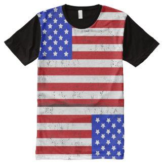 Vintage American Flag Men's Printed Panel T-Shirt