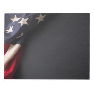 Vintage American Flag on Chalkboard Notepad