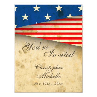 Vintage American Flag Patriotic USA Wedding Invite