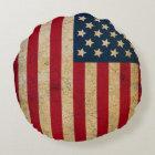Vintage American Flag Round Throw Pillow
