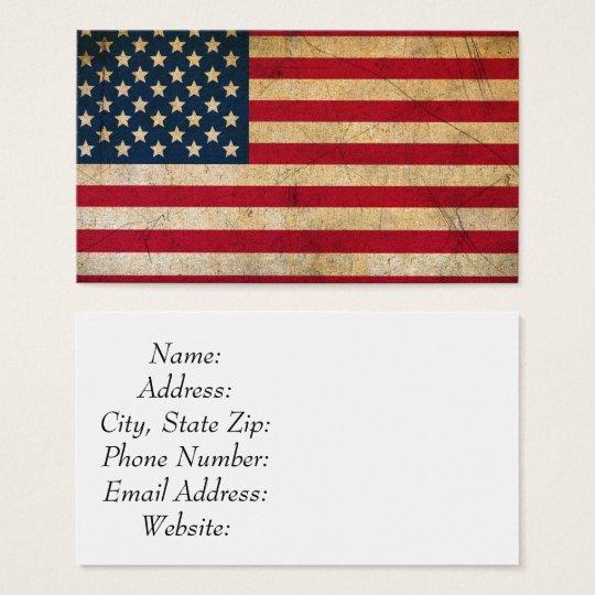 Vintage American Flag Standard Size Business Card