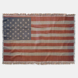Vintage American Flag Throw Blanket