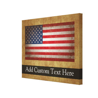 Vintage American Flag w/Custom Text Stretched Canvas Print