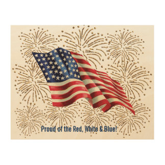 Vintage American Flag with Gold Glitter Fireworks Wood Canvases