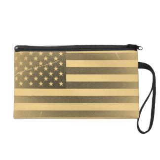 Vintage American Flag Wristlet