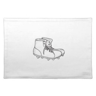 Vintage American Football Boots Drawing Placemat