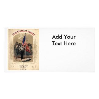 Vintage American Soldier and U.S. Flag Custom Photo Card