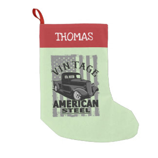 Vintage American Steel Classic Truck Small Christmas Stocking