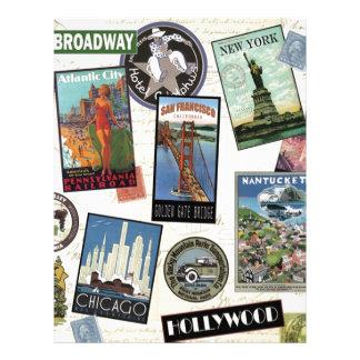 Vintage American Travel collage Custom Letterhead