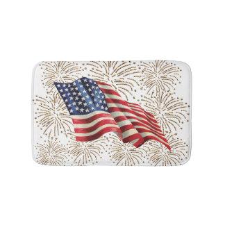 Vintage American USA Flag and July 4th Fireworks Bathroom Mat