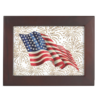 Vintage American USA Flag and July 4th Fireworks Memory Boxes