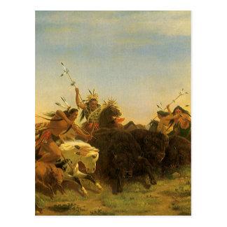 Vintage American West Art, Buffalo Hunt by Wimar Postcard