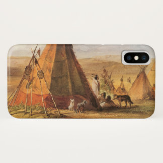 Vintage American West, Teepees on Plain by Bodmer iPhone X Case