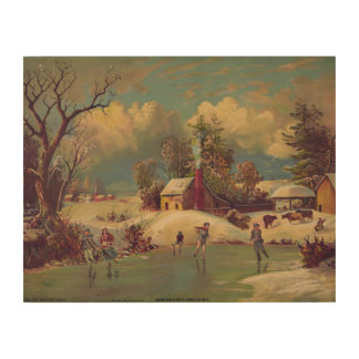 Vintage American Winter Life Wood Wall Art