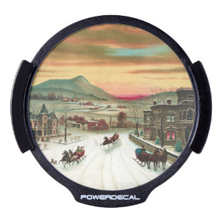 Vintage American winter scene LED Car Decal