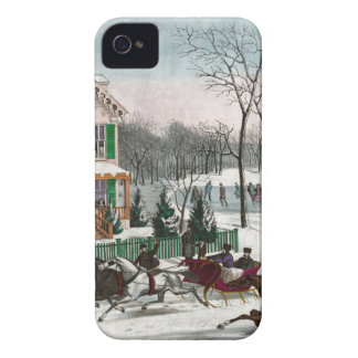 Vintage American Winter Scene iPhone 4 Covers