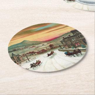 Vintage American winter scene Round Paper Coaster