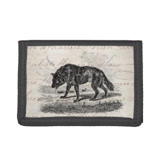 Vintage American Wolf 1800s Wolves Illustration Tri-fold Wallets
