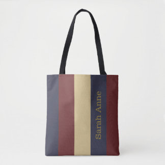 Vintage Americana Red White Blue Personalized Tote Bag