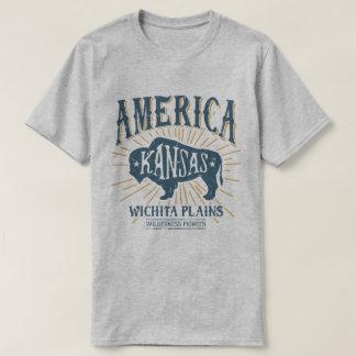 Vintage Americana Wichita Kansas Bison Logo T-Shirt
