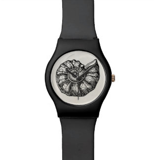 Vintage Ammonite Seashell Fossil Shell Template Wristwatches