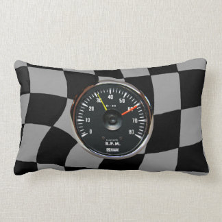 Vintage Analog Auto Tachometer Lumbar Throw Pillow