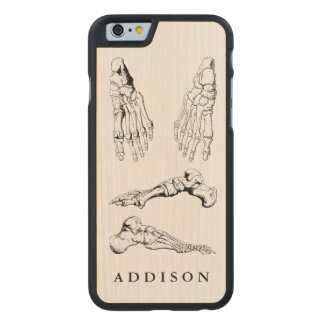 Vintage Anatomy Art Bones of the Foot Carved® Maple iPhone 6 Case