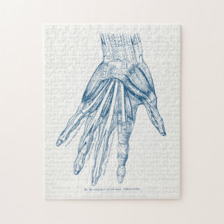 Vintage Anatomy Art Muscles of the Hand Blue Jigsaw Puzzle