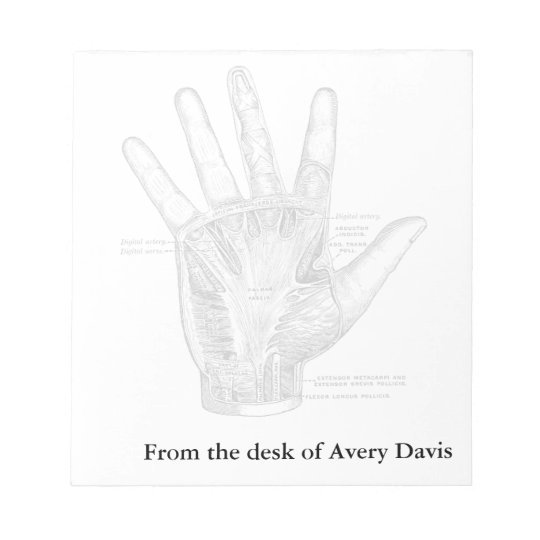 Vintage Anatomy Art The Palm of the Hand Notepad