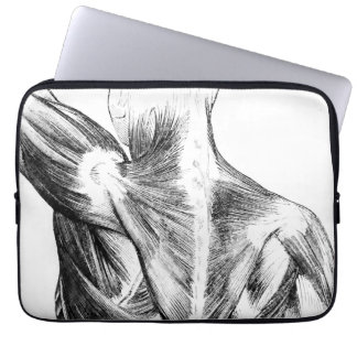 Vintage Anatomy | Back Muscles  (circa 1852) | B/W Laptop Sleeve