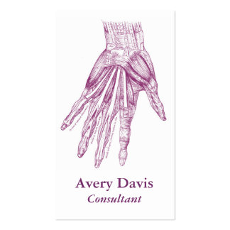 Vintage Anatomy Drawing Hand Muscles Purple Pack Of Standard Business Cards