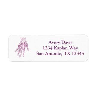 Vintage Anatomy Drawing Hand Muscles Purple Return Address Label