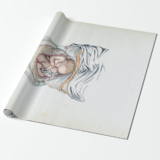 Vintage Anatomy of a Human Infant in Womb Wrapping Paper