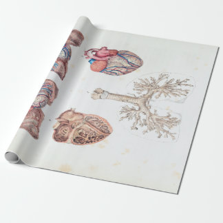 Vintage Anatomy of Human Heart and Lungs Wrapping Paper