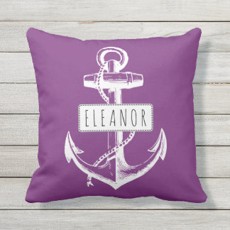 Vintage anchor and name purple nautical reversible throw pillow