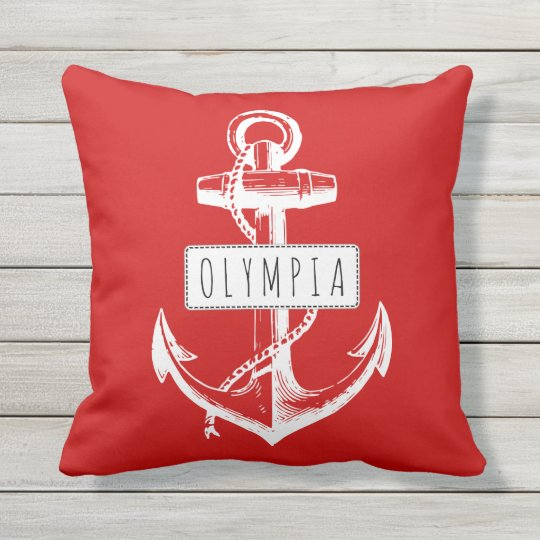 Vintage anchor and name red nautical reversible outdoor pillow