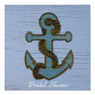 "vintage  anchor  beach wedding bridal shower 5.25"" square invitation card"