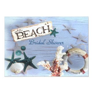 "vintage  anchor  beach wedding bridal shower 5"" x 7"" invitation card"
