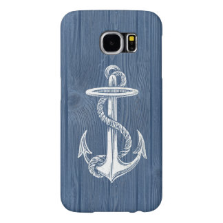 Vintage Anchor Blue Wood Beach Phone Case