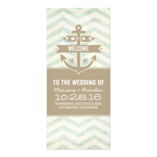 vintage anchor chevron nautical wedding programs
