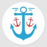 Vintage Anchor Classic Round Sticker