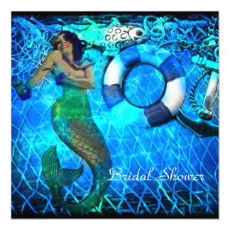vintage  anchor mermaid beach bridal shower card