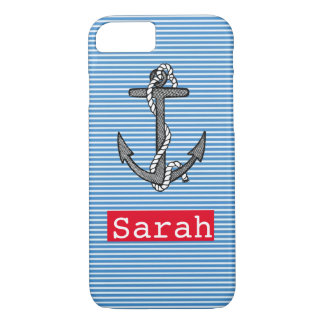 Vintage anchor nautical blue stripe custom name iPhone 8/7 case